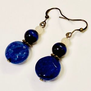 Deep Blue Dyed Dragon's Veins Agate Earrings